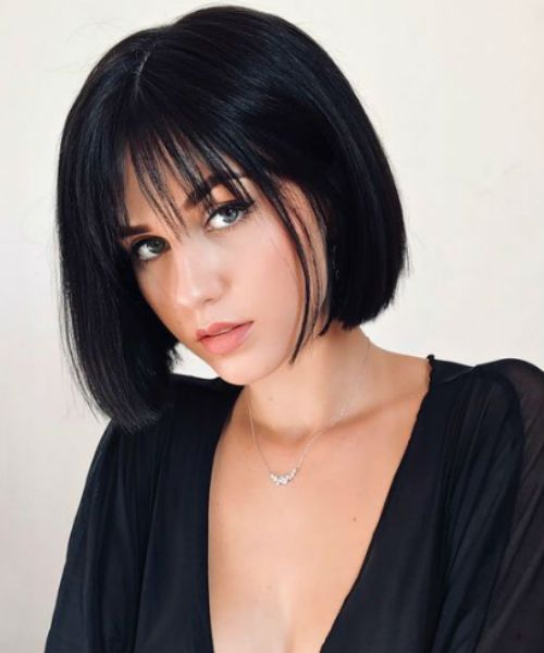 dazzling chin length bob hairstyles with bangs for girls to