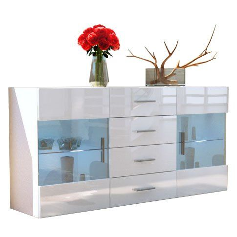 Buffet Meuble Tv Bari En Blanc Mat Blanc En Haute Brillance