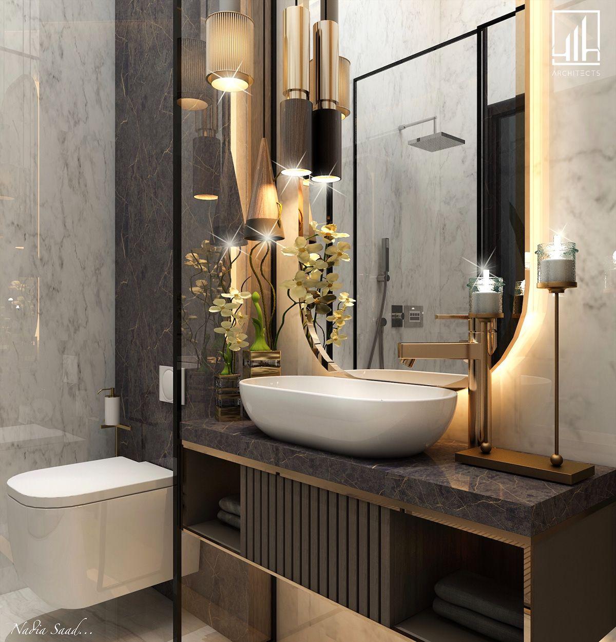 Guest Bathroom In Ksa On Behance Washroom Design Bathroom Design Decor Guest Bathroom Bathroom redecorating ideas png