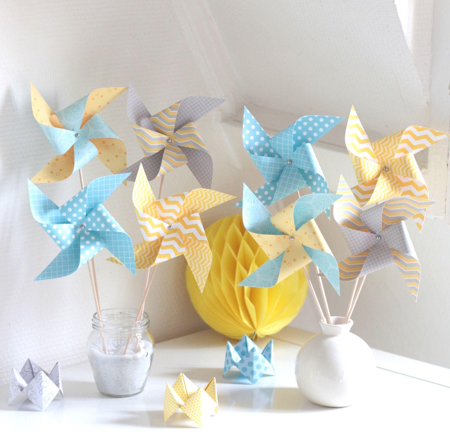 8 moulins vent coloris jaune bleu gris accessoires. Black Bedroom Furniture Sets. Home Design Ideas