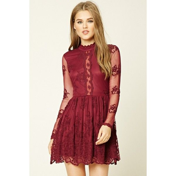 660da0582acb Forever21 Floral Lace Skater Dress ($28) ❤ liked on Polyvore featuring  dresses, wine, red floral dress, long sleeve floral dress, floral skater  dress, ...