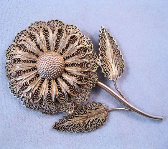 Vintage Portuguese Cannetille Filigree Sunflower Silver Gold Vermeil Brooch/Pin circa 1940s