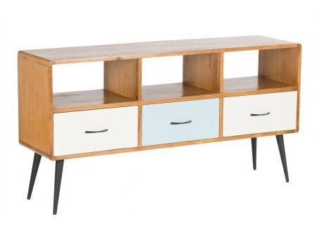 vintage wooden tv cabinet  | 1950s wooden painted tv cabinet | retro tv cabinet with painted drawers | vintage painted tv cabinet | iconic fifties wooden painted tv cabinet