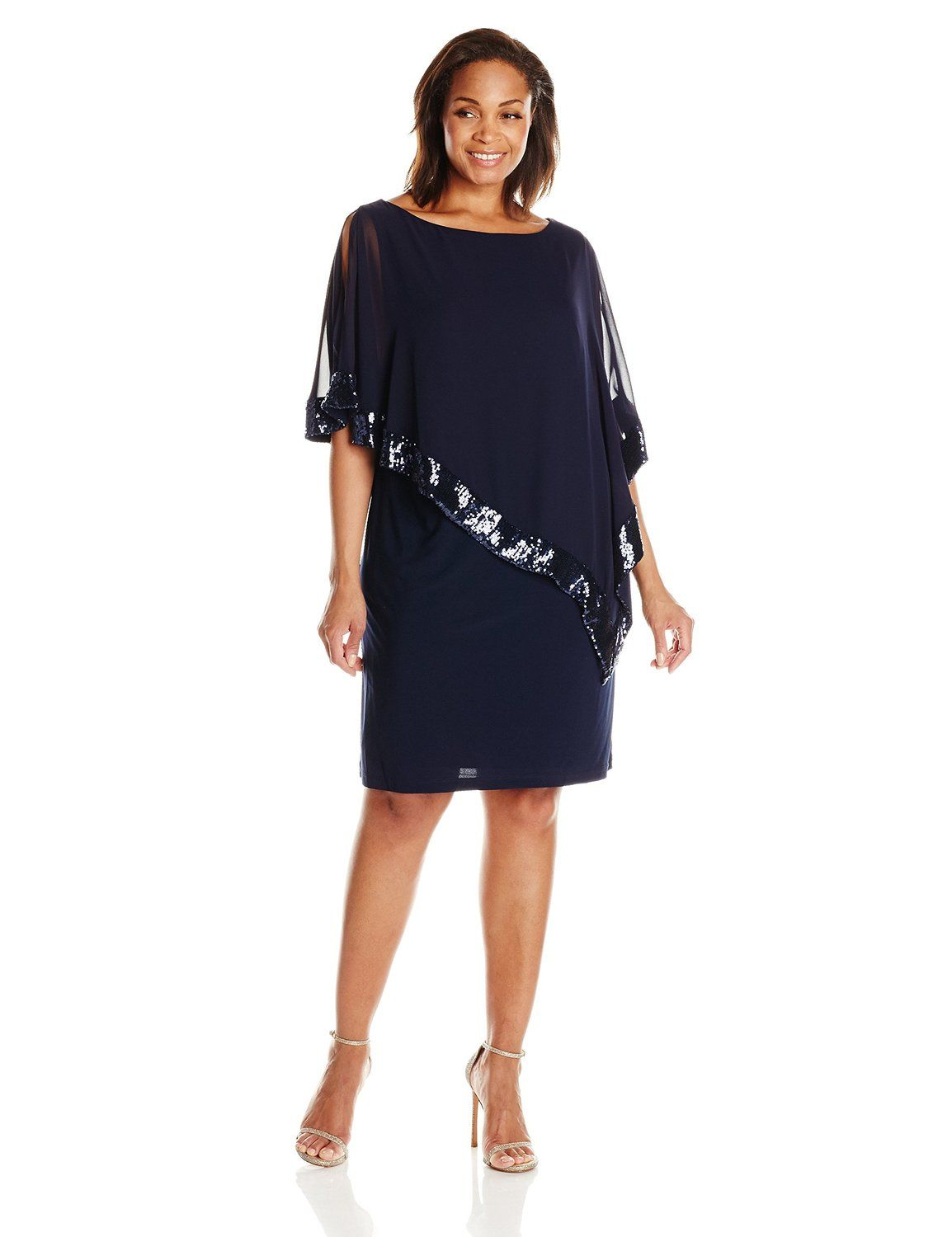 4bcd4c5f63a Amazon.com  Xscape Women s Plus-Size Short ITY Dress with Sequin Trim Chiffon  Overlay  Clothing