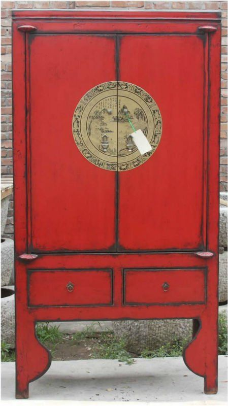Chinese Red Antique Two Door Two Drawer Carved Wedding Cabinet Red Painted Furniture Antiques Antique Paint