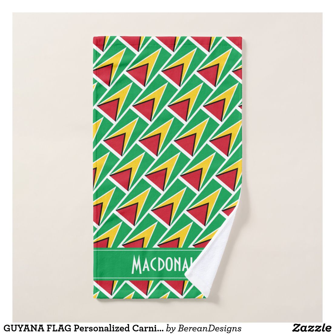 Guyana Flag Personalized Carnival Sports Hand Towel Zazzle Com