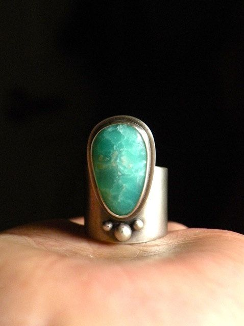 Sterling and Chrysoprase Ring A Hope Totem by BlueGnome on Etsy, $182.00