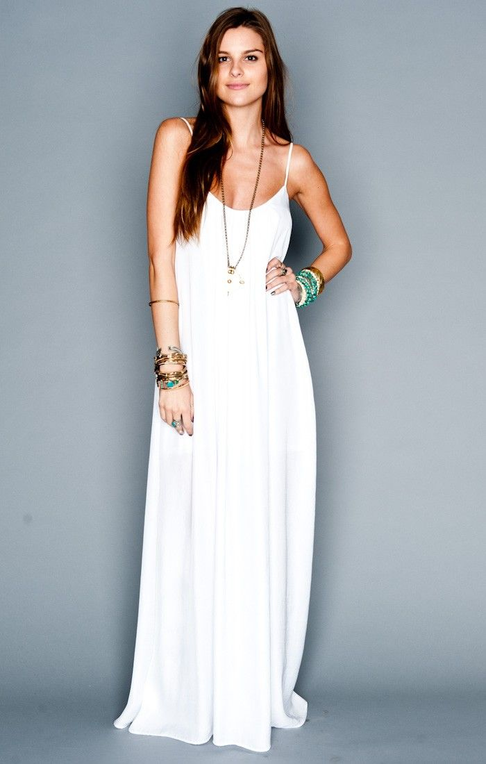 f62106fec82 Trapeze Maxi Dress ~ White Silky Satin    Show Me Your Mumu