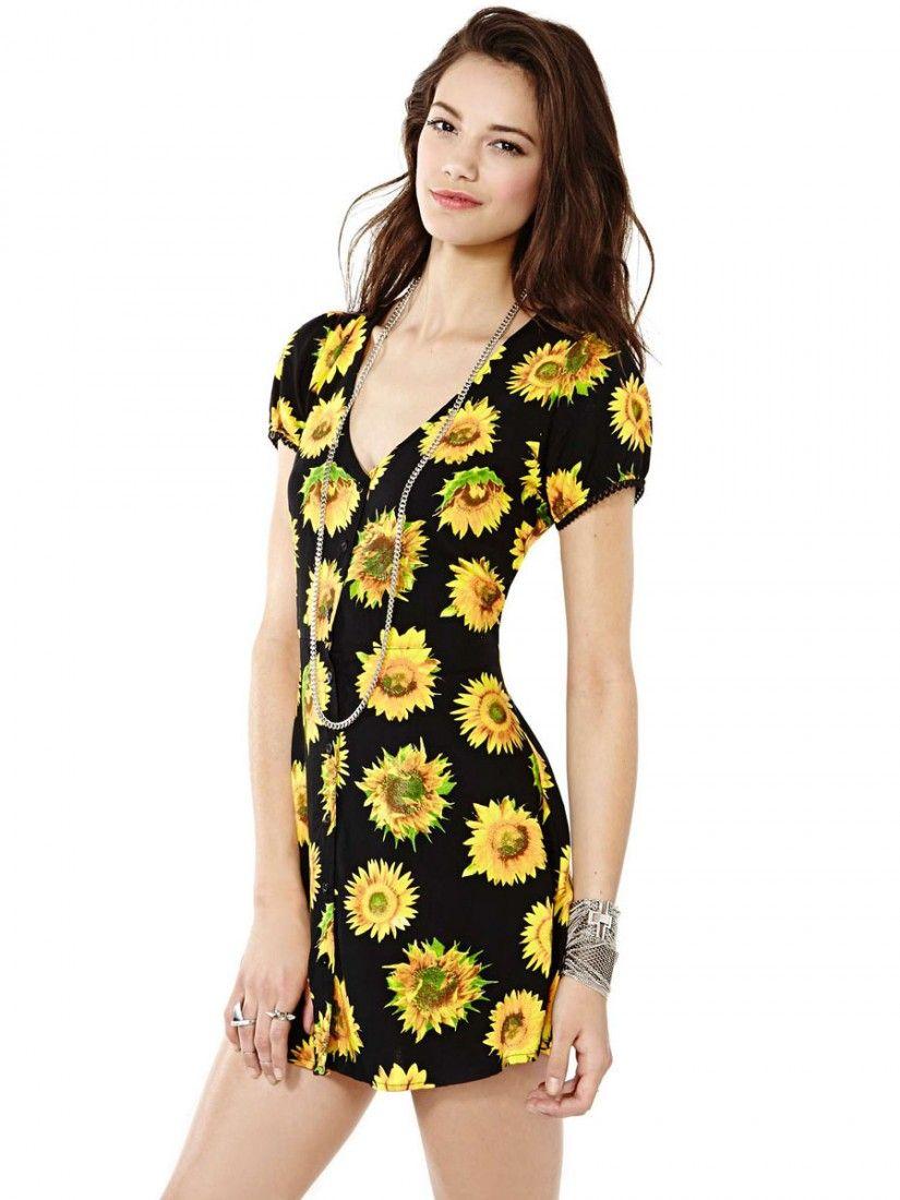 Black short sleeve sunflower dress clicktoget fashion pinterest