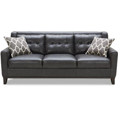 Contemporary Charcoal Leather Sofa - Nigel | Furniture ...
