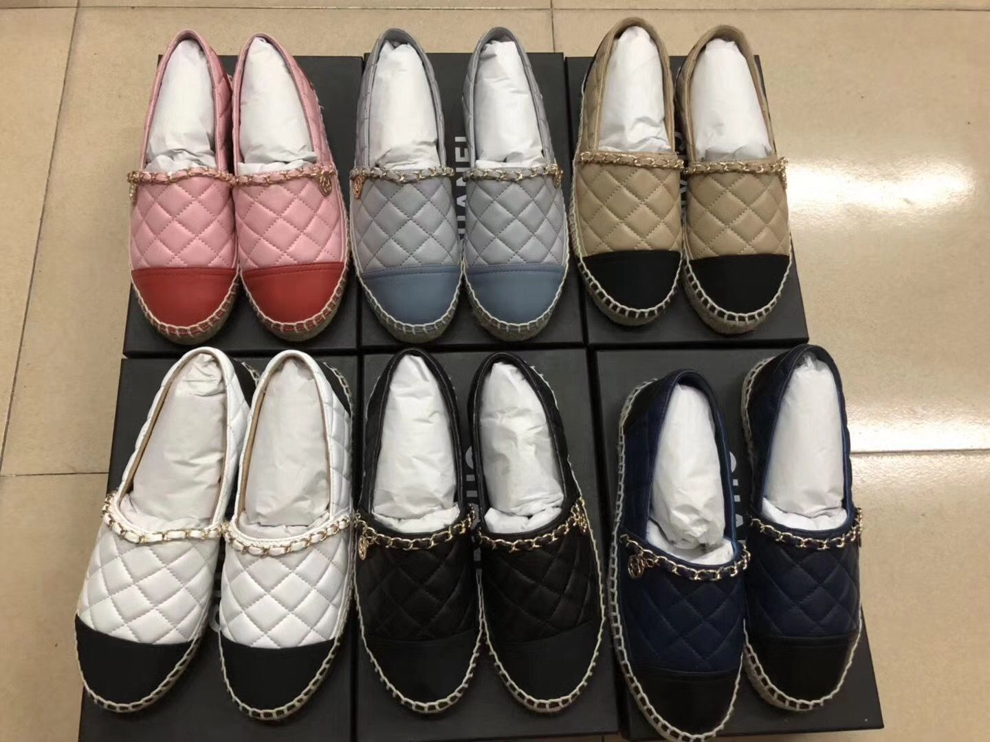 88e0f1a2385 New Chanel chain espadrilles quilted leather flats
