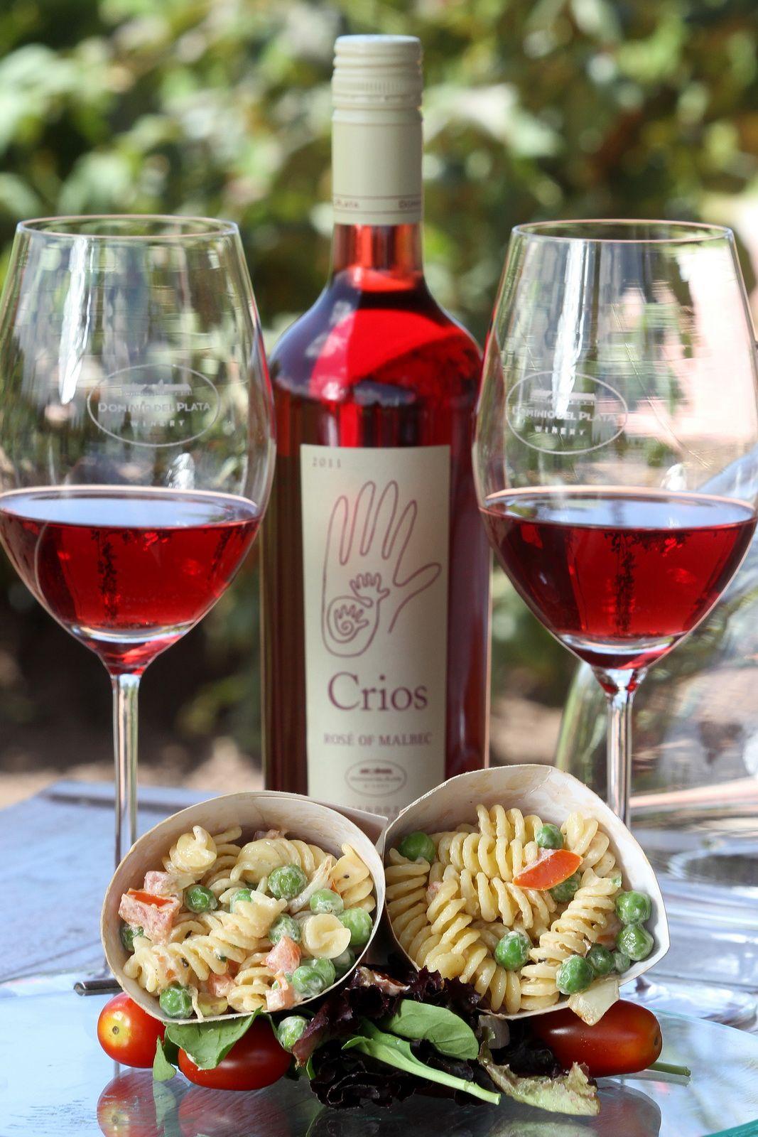 Screw Pasta Cone With Crios Rose Of Malbec Food Experiences Argentina Food Malbec