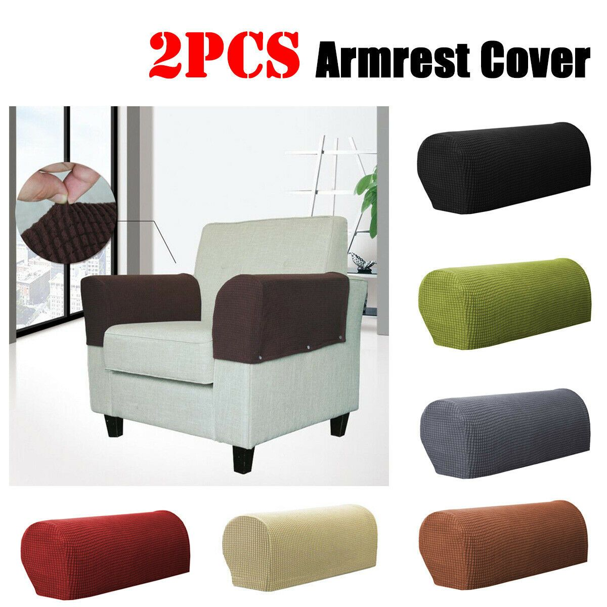 Sofa Arm Cover Fabric Armrest Covers Furniture Protector Armchair Slipcovers USA