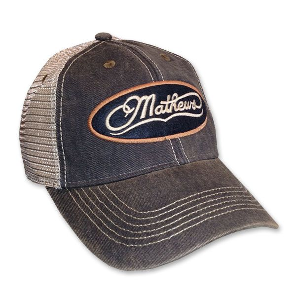 competitive price e9fe6 63666 Mathews Old Favorite Trucker Adjustable Hat Black With Mathews Swiss Felt  Oval Logo