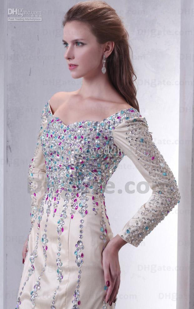 Ivory Sheath Evening Dress Bateau Long Sleeves Colorful Beaded Swarovski Crystals Ruched Prom Dress