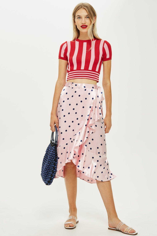 b2c0e161c0 Satin Spot Ruffle Midi Skirt | SUMMER 2018 | Midi skirt, Skirts ...