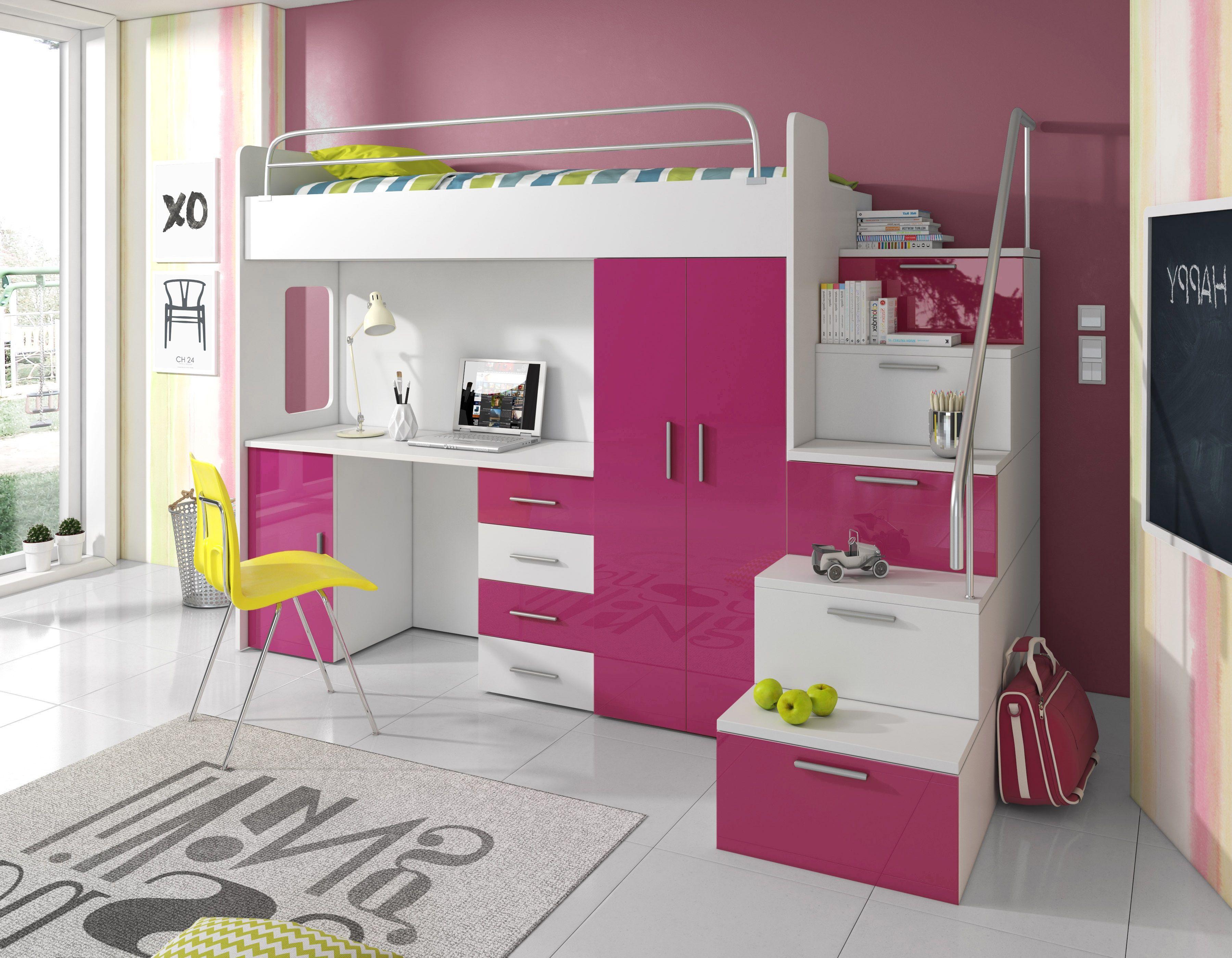 Kinderhochbett Sky Kinder Hochbett Mit Schrank Schreibtisch Und
