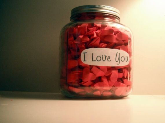 Origami Hearts  in a Jar