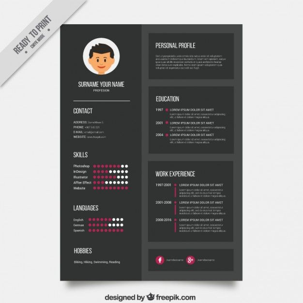 Resume Template Indesign Modelo De Currículo Escuro  Design Resume