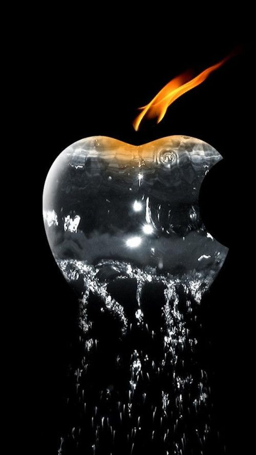Free Water Apple With Flame Mobile Wallpaper By Sparky On