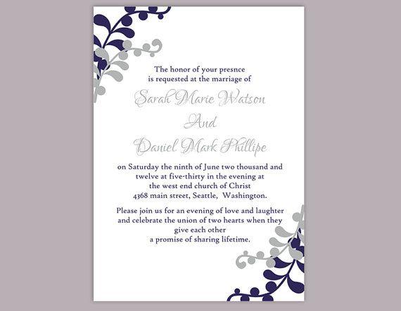 DIY Wedding Invitation Template Editable Word File Instant - invitation word template