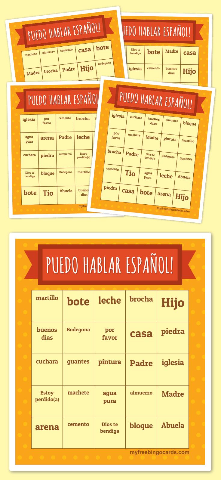 Puedo hablar Español! Bingo