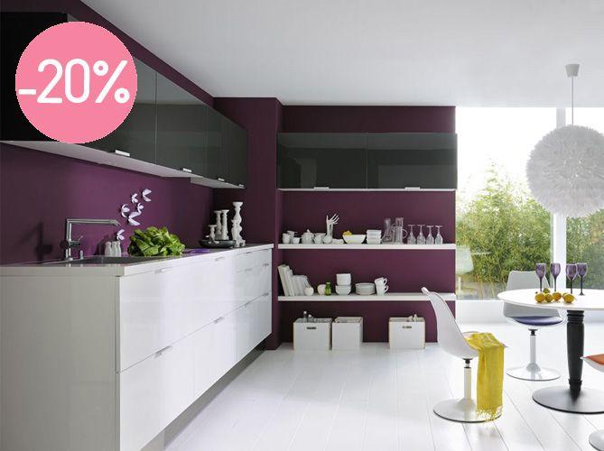 Idée Cuisine (Murs couleurs meubles blancs) Espaces