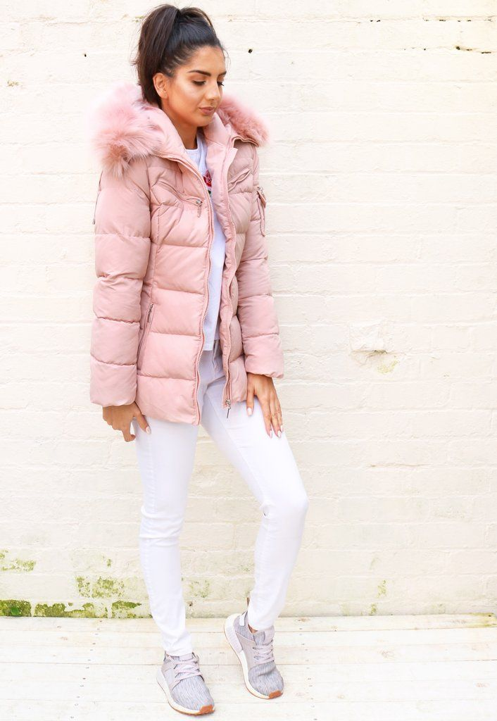 8c918ac1baa Harper Quilted Longline Hooded Puffer Coat with Faux Fur Trim   Belt in Soft  Pink