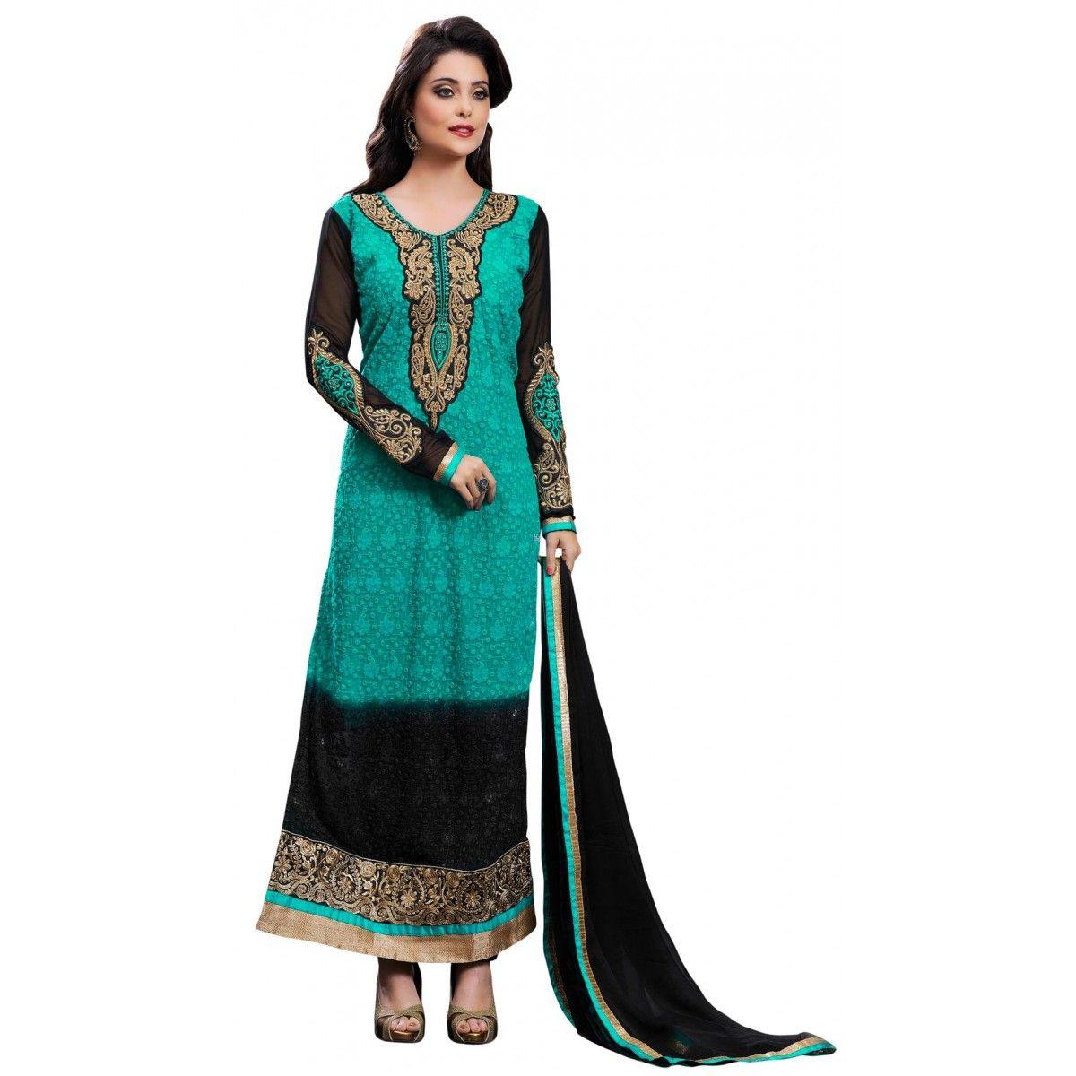 Green and Black Georgette #PartyWear #Churidar #Kameez - $39.06