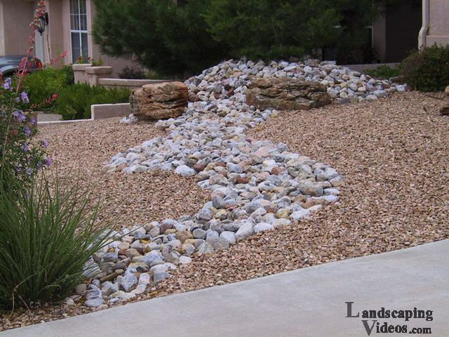 Southwest front yard dry river idea this is a simple way for River rock yard ideas