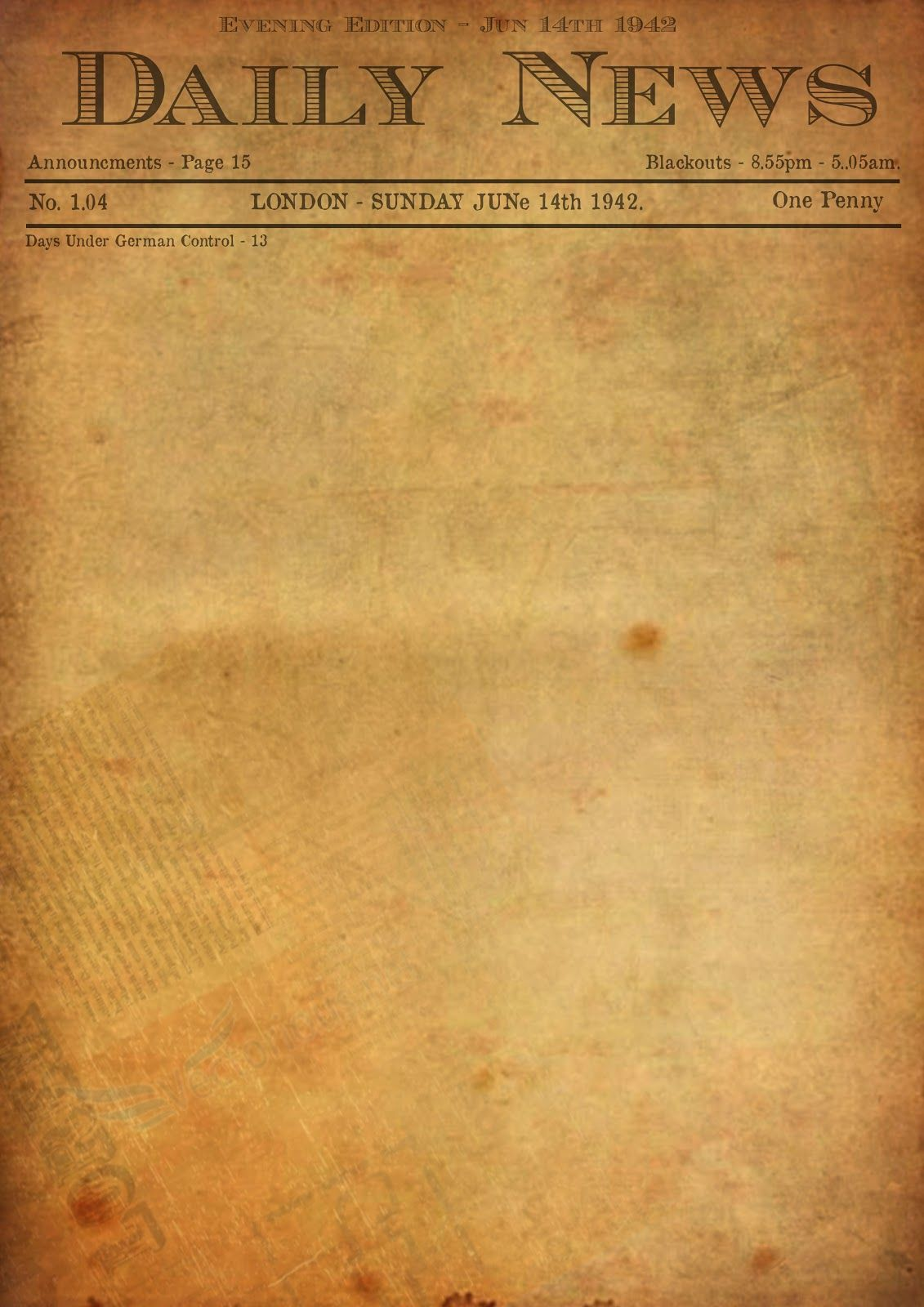 Best Photos Of Old Newspaper Template  Editable Old Newspaper