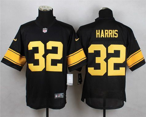 Men's Pittsburgh Steelers #32 Franco Harris Black With Yellow Retired Player Nike NFL Elite Jersey