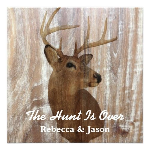 Camo Save the Date Wedding Invitations rustic deer the hunt is over wedding invitation