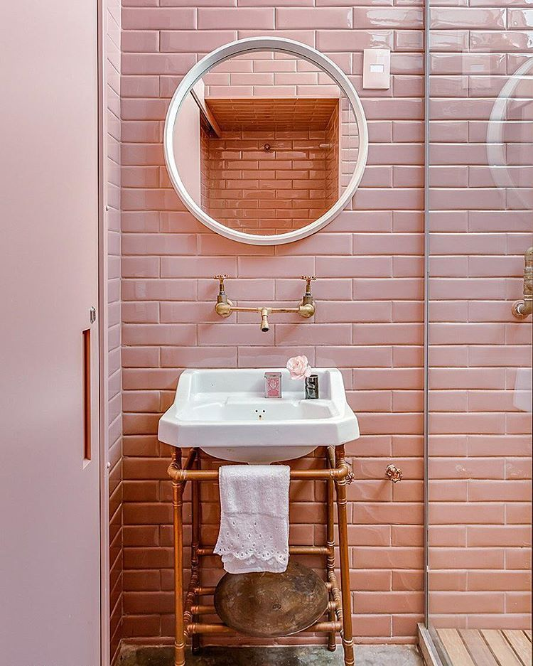 Pink And Rose Gold Bathroom