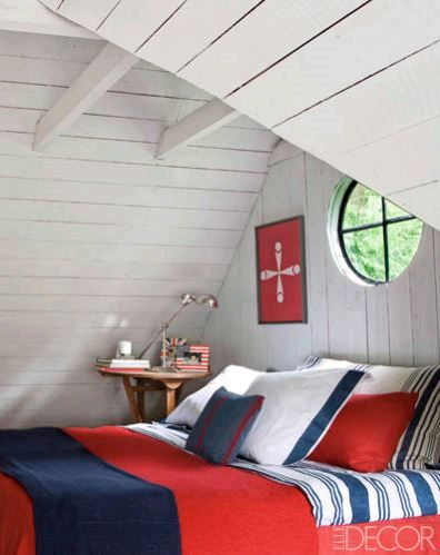 Blue, red and white bedroom