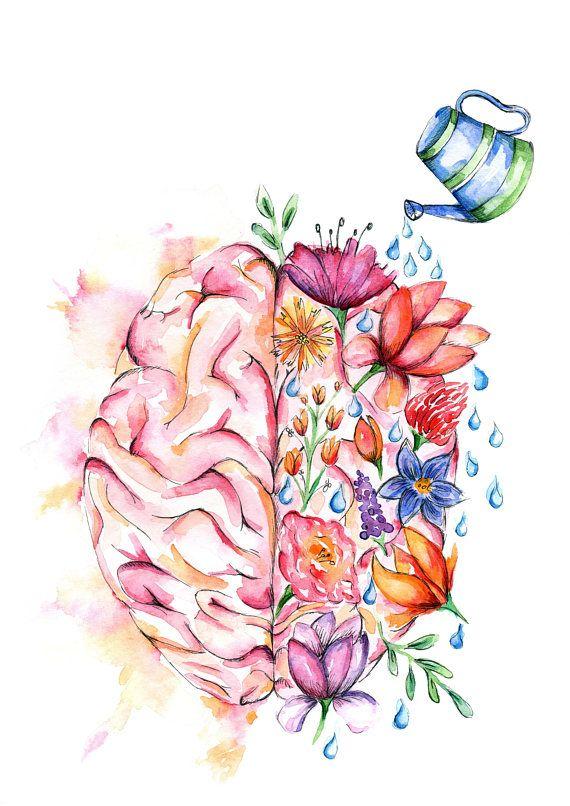 Watercolour Anatomy Art Print Flower Brain Arte Flor Producao