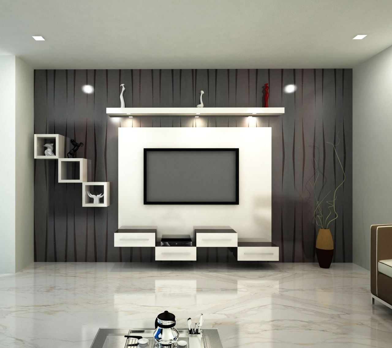 Tv units by SRINIVASAM INTERIORS | Modern tv wall units ...
