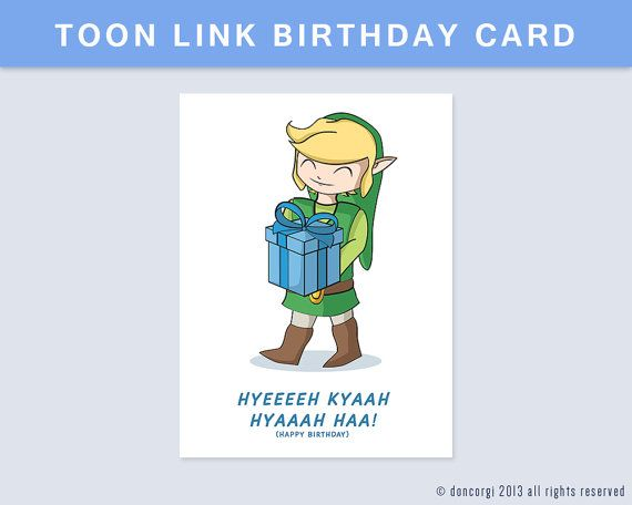 CHRISTMAS SALE Printable Legend Of Zelda Birthday Card By DonCorgi Toon Link Gift Greetings