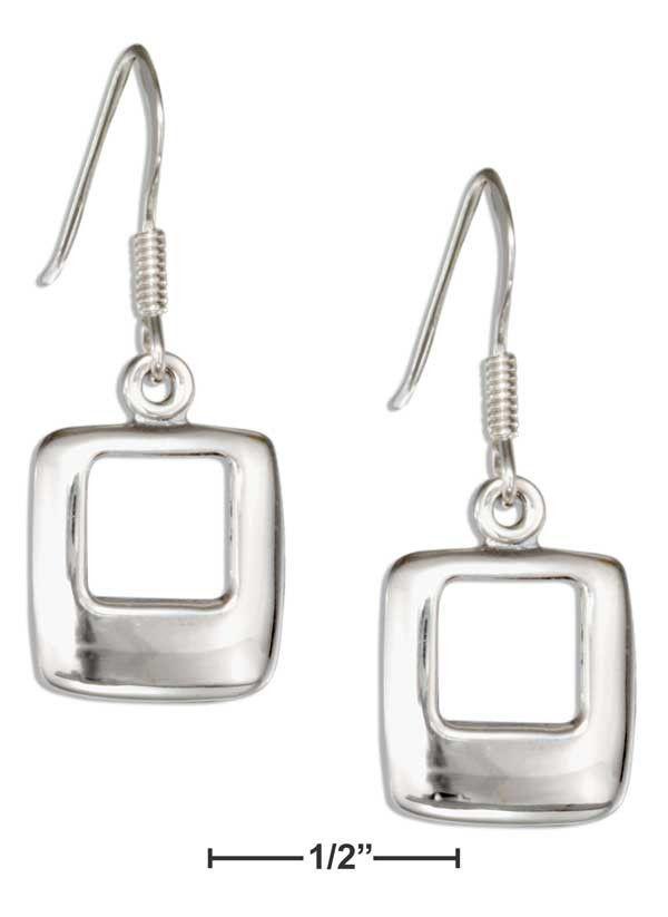 Sterling Silver Open Square Dangle Earrings