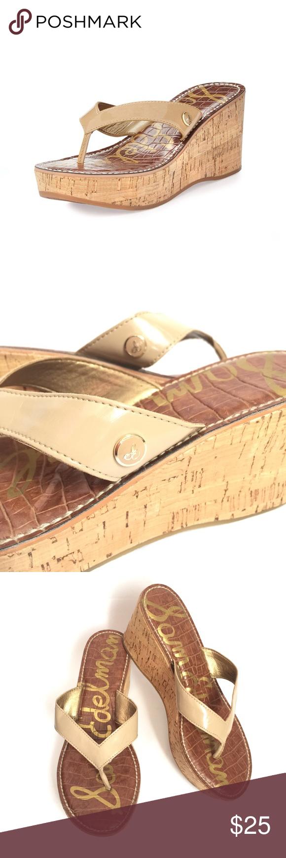 21c973ebd0a0b2 Sam Edelman Romy Patent Leather Cork Wedge Thong Sam Edelman s  Romy  is  sure to