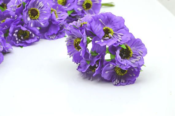 Light Purple Flowers Floral Craft Silk Poppy Flowers Fake Flowers