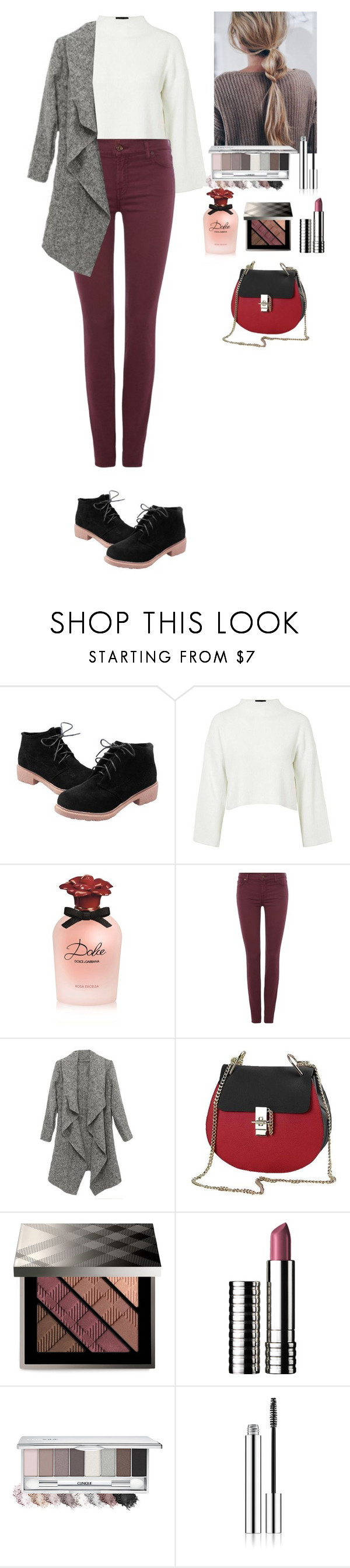 """""""Streetstyle TOMTOP"""" by eliza-redkina ❤ liked on Polyvore featuring Topshop, Dolce&Gabbana, 7 For All Mankind, Burberry, vintage, StreetStyle, outfit, like, look and tomtop"""