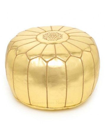 Moroccan genuine leather gold pouf on sale until 4/16 $118