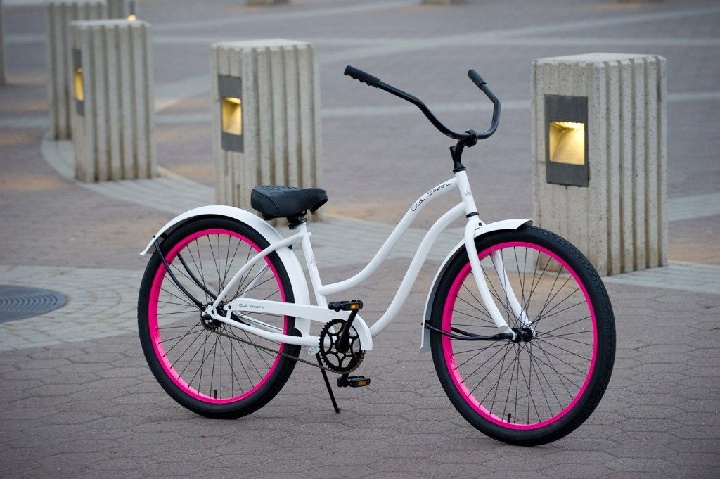 Old Skool Women S Beach Cruiser Bike Gloss White Pink Beach Bicycle Cruiser Bicycle Beach Cruiser Bicycle