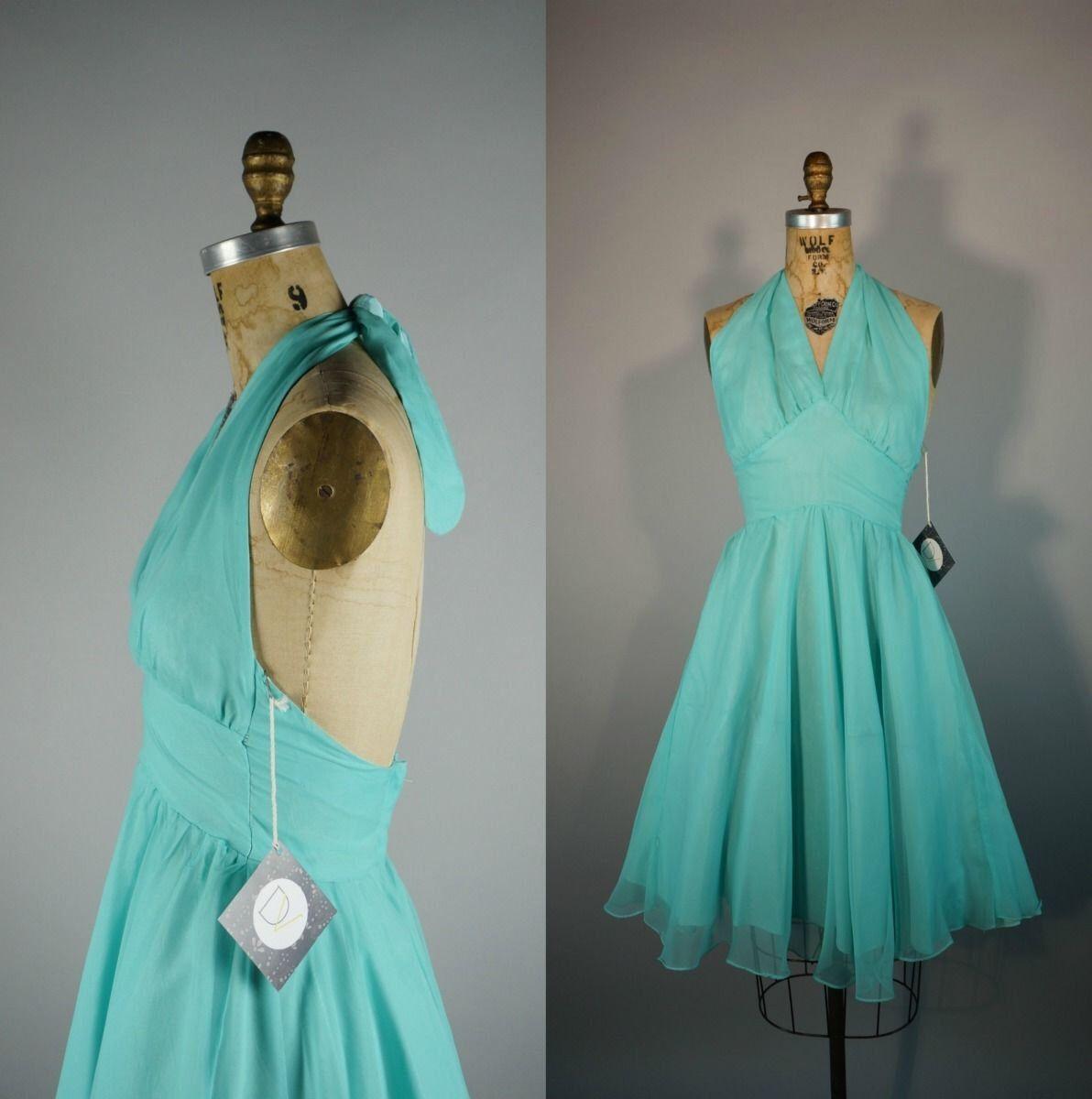 Teal Triste   Vintage 60s Dress   Sheer Chiffon Bombshell Halter Fit ...