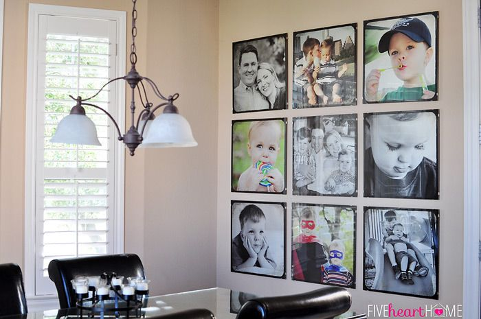 Family Photo Wall ~ Gallery of 20-inch Square Frames   {Five Heart ...