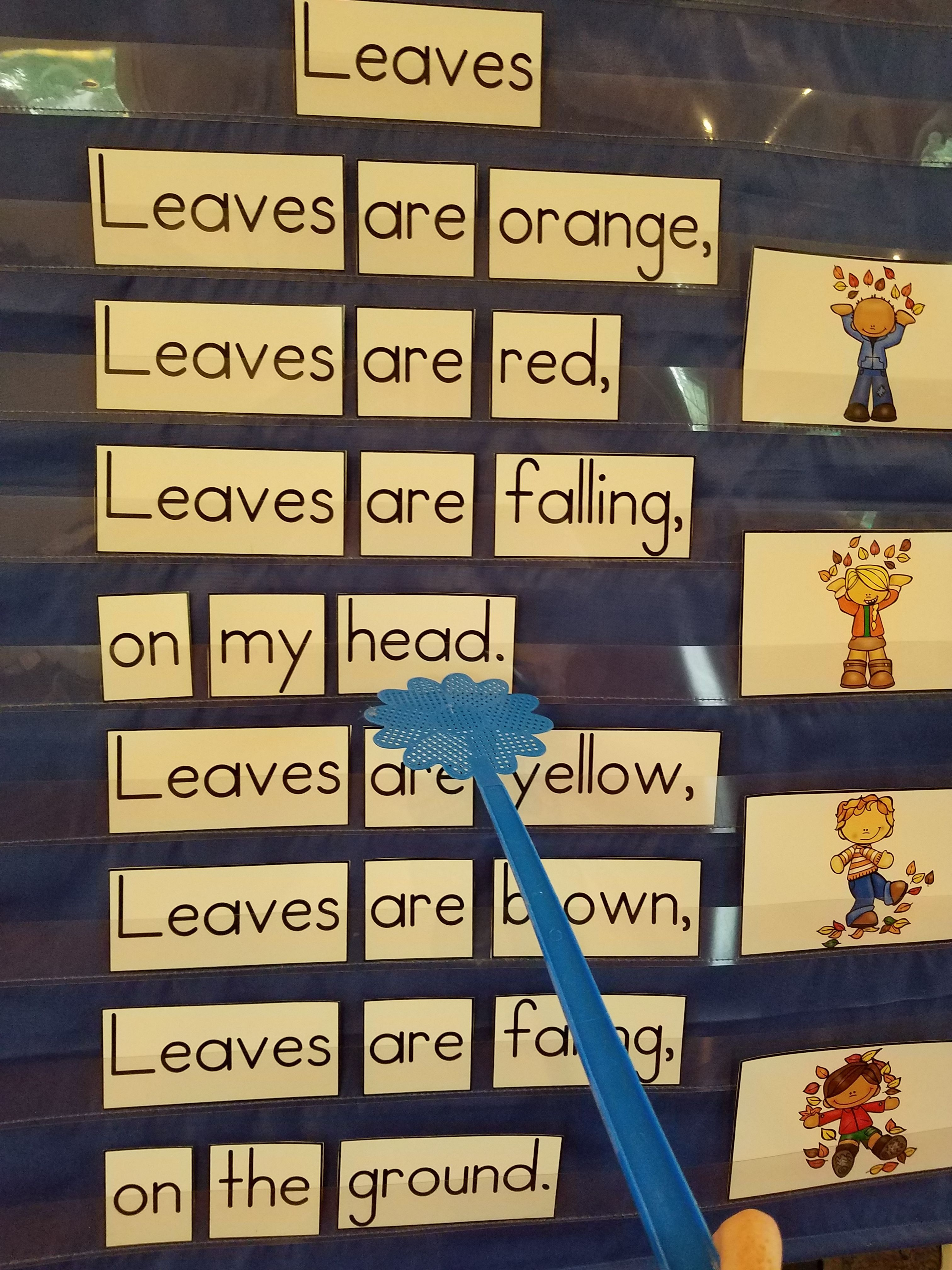 Pocket Charts 15 Fall Sight Word Poems For Shared Reading