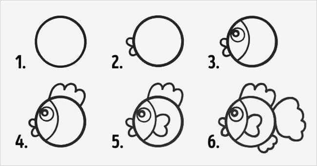 Animales Con Circulos Pez Como Dibujar Un Pez Como Dibujar