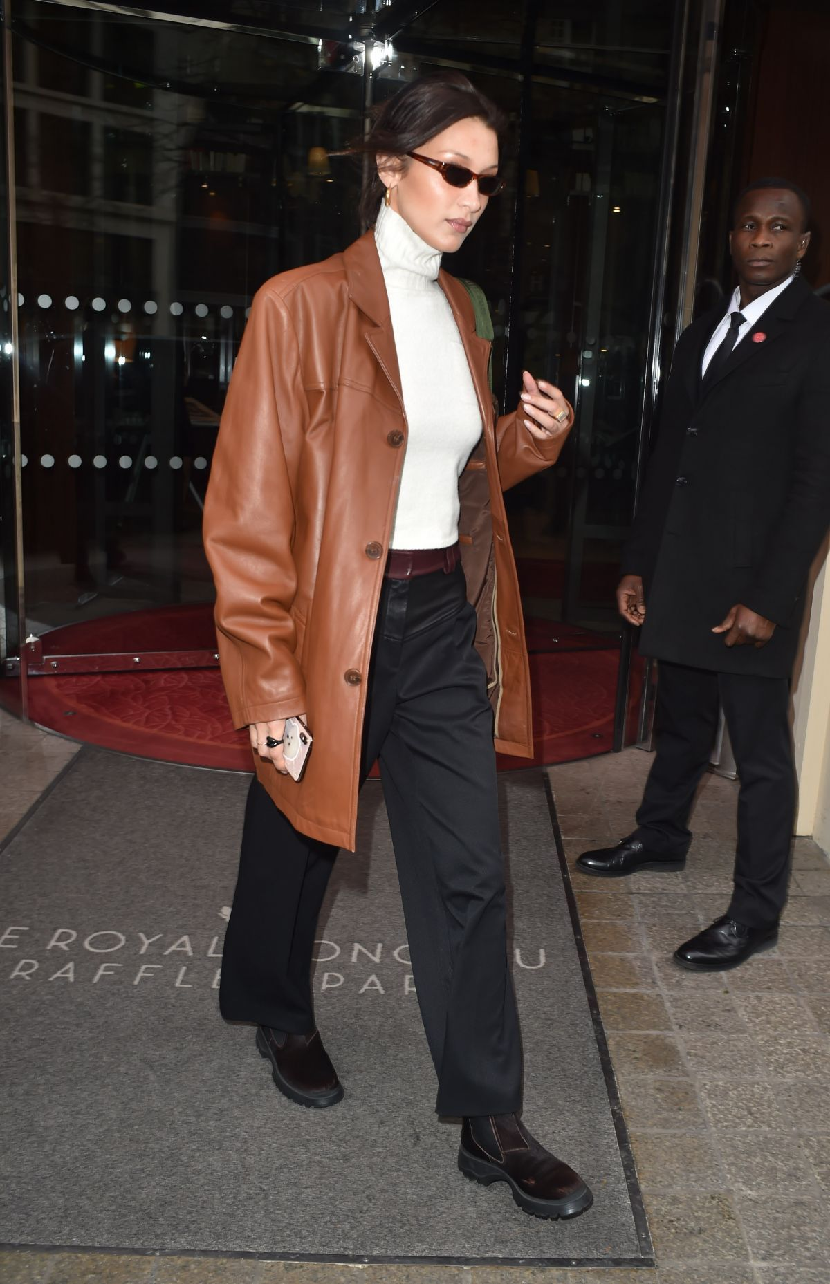 Bella Hadid Out And About In Paris 01 14 2020 In 2021 Leather Jacket Street Style Leather Jacket Style Brown Leather Jacket Outfit [ 1857 x 1200 Pixel ]