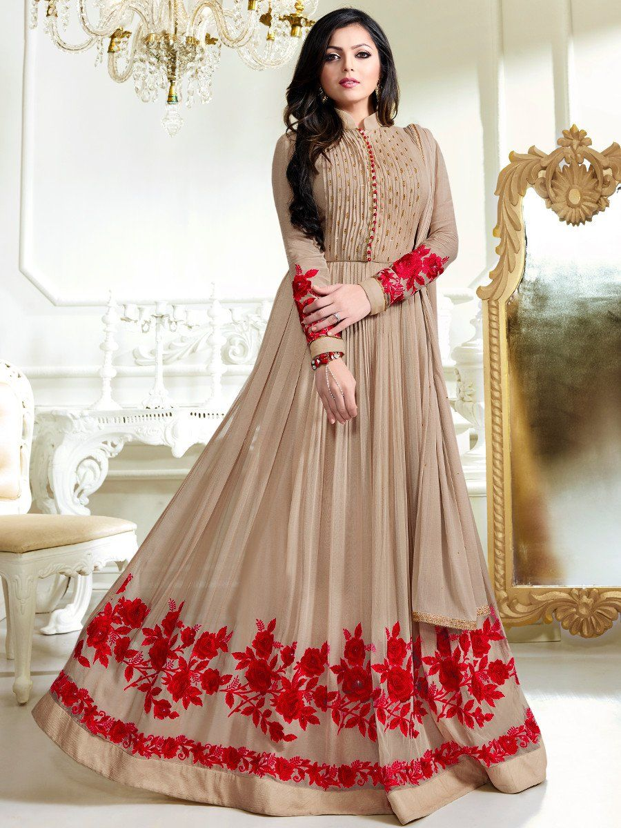 a6dc79e90 Shop Drashti Dhami light brown color georgette party wear anarkali kameez  online at kollybollyethnics from India with free worldwide shipping.